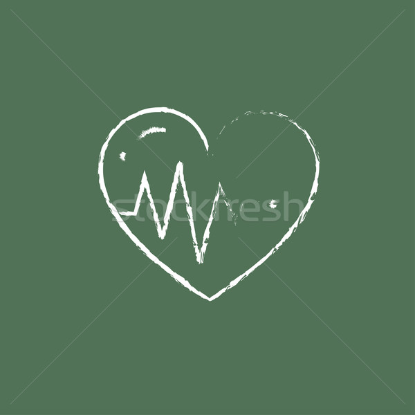 Heart with cardiogram icon drawn in chalk. Stock photo © RAStudio