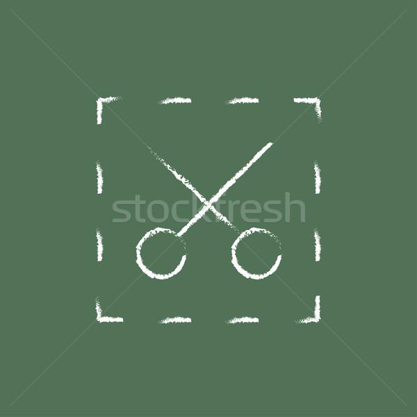 Olló pontozott vonalak ikon rajzolt kréta Stock fotó © RAStudio