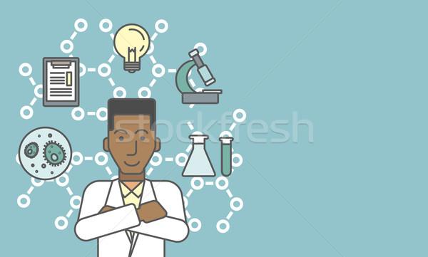 Laboratoire assistant différent icônes autour travaux Photo stock © RAStudio
