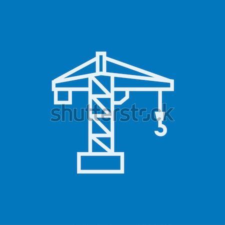 строительство крана линия икона веб мобильных Сток-фото © RAStudio