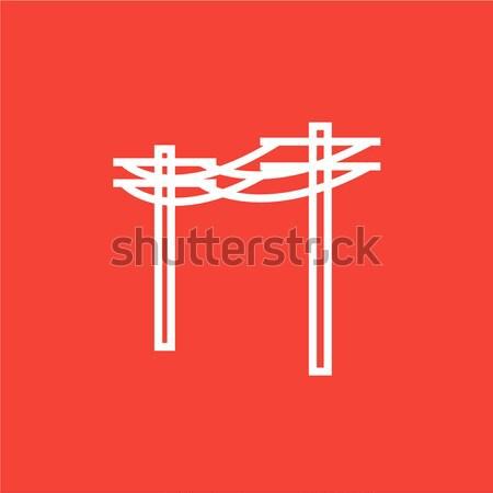 Nagyfeszültség távvezeték vonal ikon háló mobil Stock fotó © RAStudio