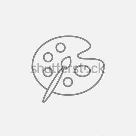 кистью палитра линия икона веб мобильных Сток-фото © RAStudio