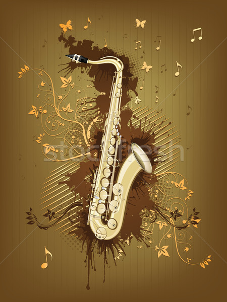 Saxofoon abstract swirl retro muziek concert Stockfoto © RAStudio