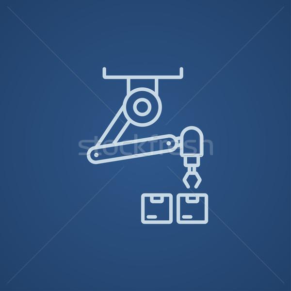 Robotique emballage ligne icône web mobiles Photo stock © RAStudio