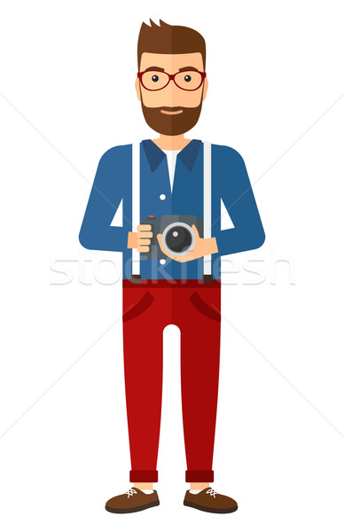 Foto stock: Sorridente · fotógrafo · câmera · vetor · projeto