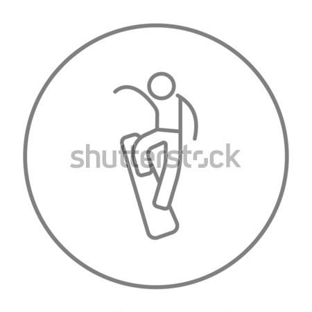 Man snowboarden lijn icon web mobiele Stockfoto © RAStudio