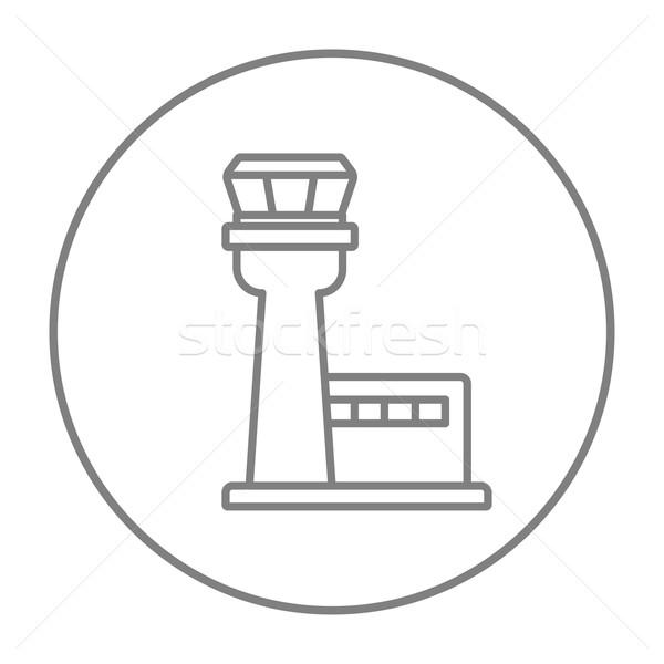 Stock fotó: Repülés · irányítás · torony · vonal · ikon · háló