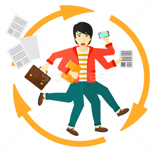 Man coping with multitasking. Stock photo © RAStudio
