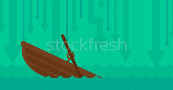 Süllyed csónak nyilak mozog lefelé vektor Stock fotó © RAStudio