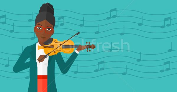Nő játszik hegedű kék hangjegyek vektor Stock fotó © RAStudio