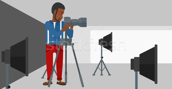 Fotograaf werken camera man foto Stockfoto © RAStudio