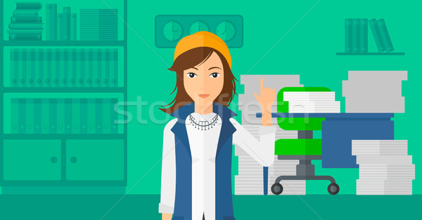 Business woman pointing up with her forefinger. Stock photo © RAStudio