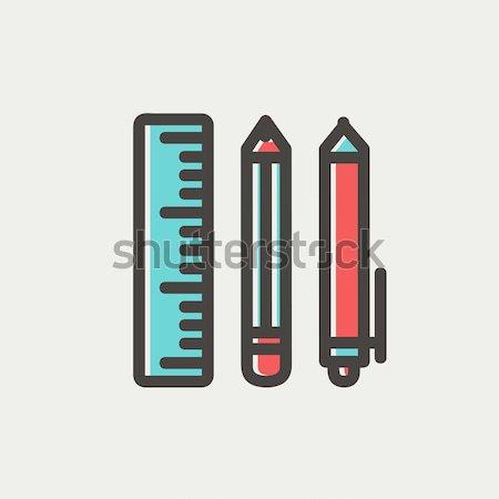 школьные принадлежности линия икона веб мобильных Инфографика Сток-фото © RAStudio