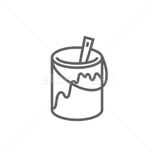 Paint brush in the paint tin line icon. Stock photo © RAStudio