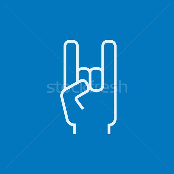 рок катиться рукой знак линия икона уголки Сток-фото © RAStudio