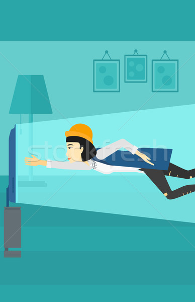 женщину страдание телевизор зависимость азиатских Flying Сток-фото © RAStudio
