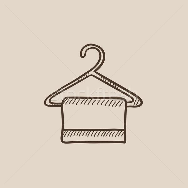 Ręcznik wieszak szkic ikona internetowych komórkowych Zdjęcia stock © RAStudio