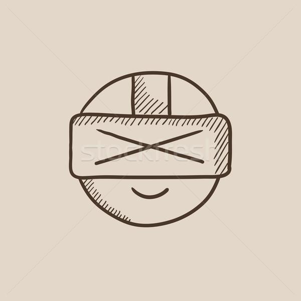 человека виртуальный реальность гарнитура эскиз Сток-фото © RAStudio