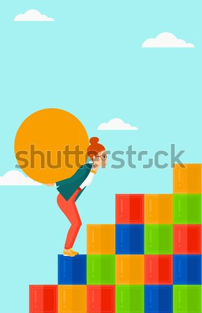 Vrouw steen asian omhoog Stockfoto © RAStudio