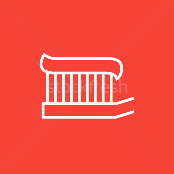 Toothbrush with toothpaste line icon. Stock photo © RAStudio
