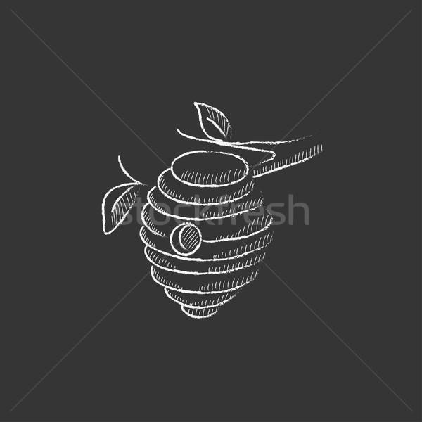 Arı kovan tebeşir ikon Stok fotoğraf © RAStudio