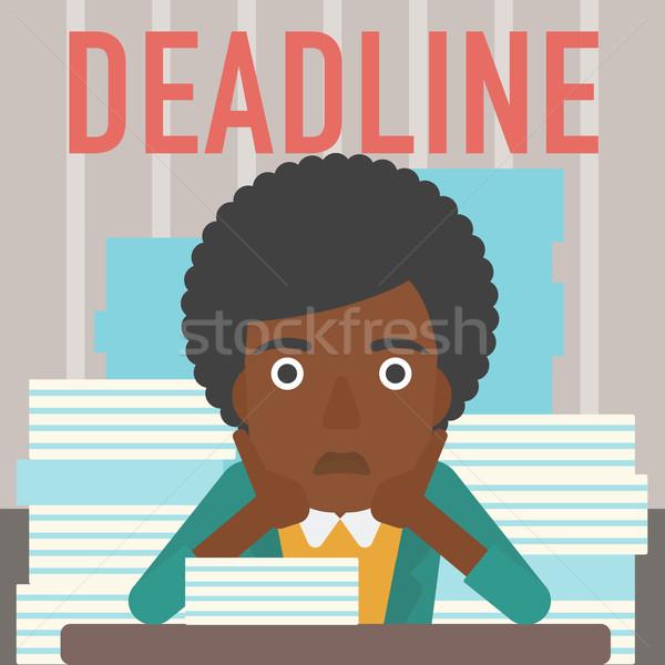 Nő probléma határidő hangsúlyos ül asztal Stock fotó © RAStudio