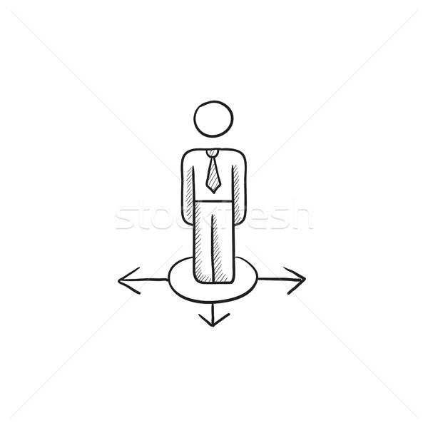 Businessman in three ways sketch icon. Stock photo © RAStudio