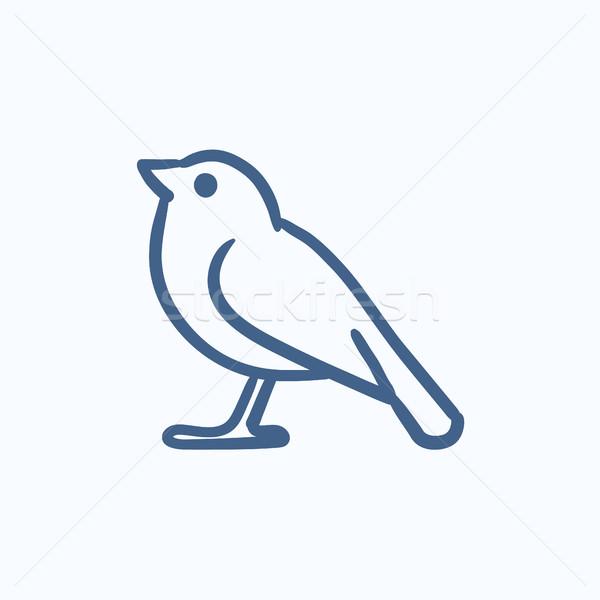 Vogel schets icon vector geïsoleerd Stockfoto © RAStudio