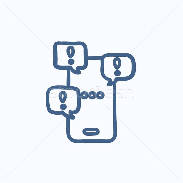 érintőképernyő telefon üzenetek rajz ikon vektor Stock fotó © RAStudio