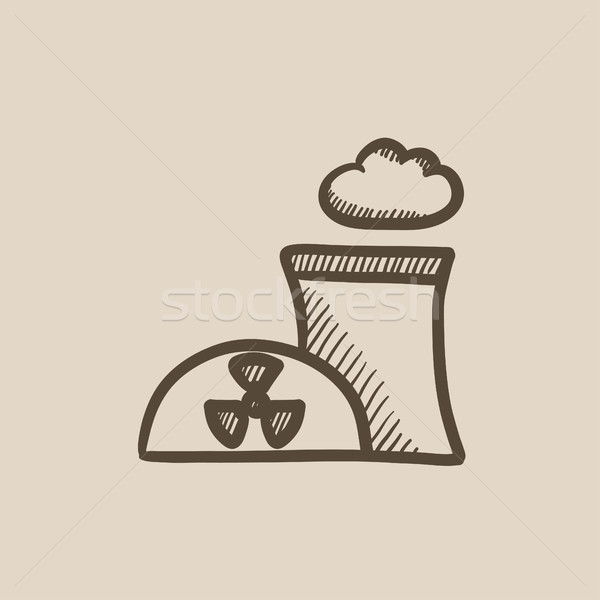 Nükleer elektrik santralı kroki ikon vektör yalıtılmış Stok fotoğraf © RAStudio