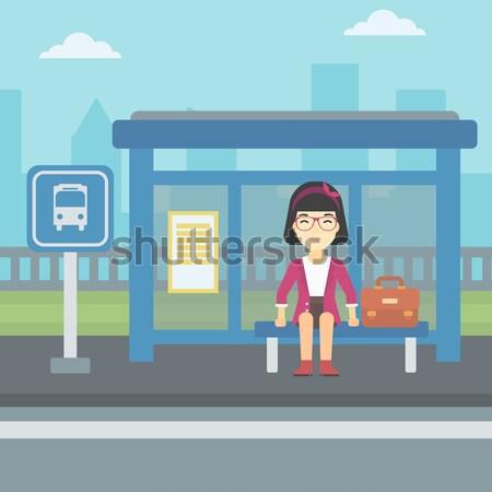 Adam bekleme otobüs otobüs durağı Asya genç Stok fotoğraf © RAStudio