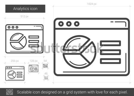 Analytics lijn icon vector geïsoleerd witte Stockfoto © RAStudio