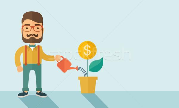 Befektető üzletember hipszter kaukázusi szakáll boldogan Stock fotó © RAStudio