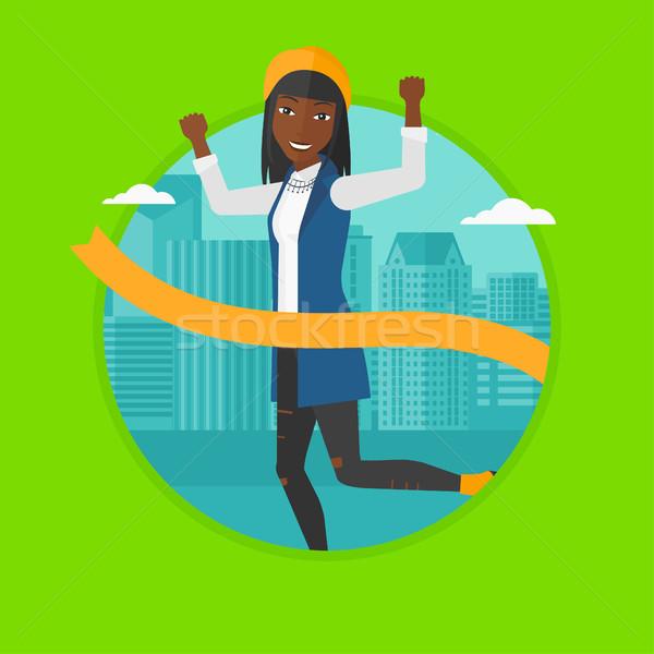 Mujer de negocios ejecutando negocios éxito vector Foto stock © RAStudio