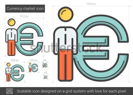 валюта рынке линия икона вектора изолированный Сток-фото © RAStudio