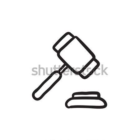Veiling hamer schets icon vector geïsoleerd Stockfoto © RAStudio