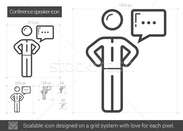 Konferans konuşmacı hat ikon vektör yalıtılmış Stok fotoğraf © RAStudio