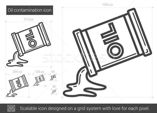 Stock photo: Oil contamination line icon.