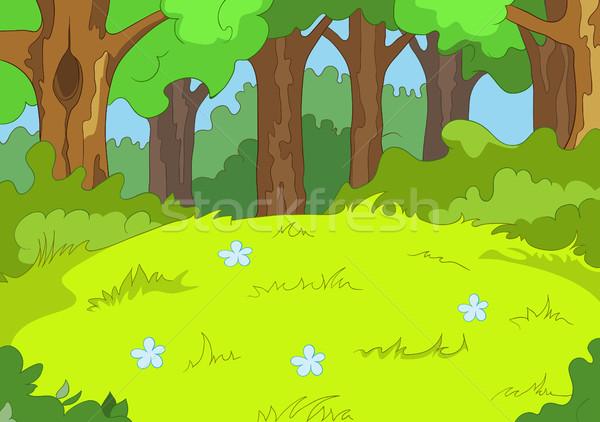 Rajz erdő tájkép kézzel rajzolt nyár színes Stock fotó © RAStudio