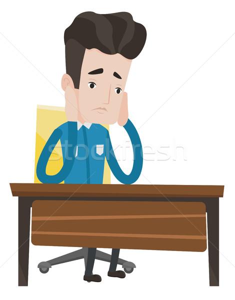 Kimerült szomorú diák ül asztal fáradt Stock fotó © RAStudio