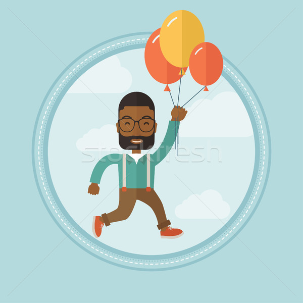 Businessman flying up away on bunch of balloons. Stock photo © RAStudio