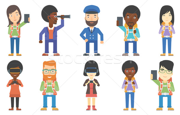 Vector set of tourists and business characters. Stock photo © RAStudio