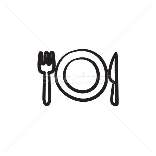 Tányér evőeszköz rajz ikon vektor izolált Stock fotó © RAStudio