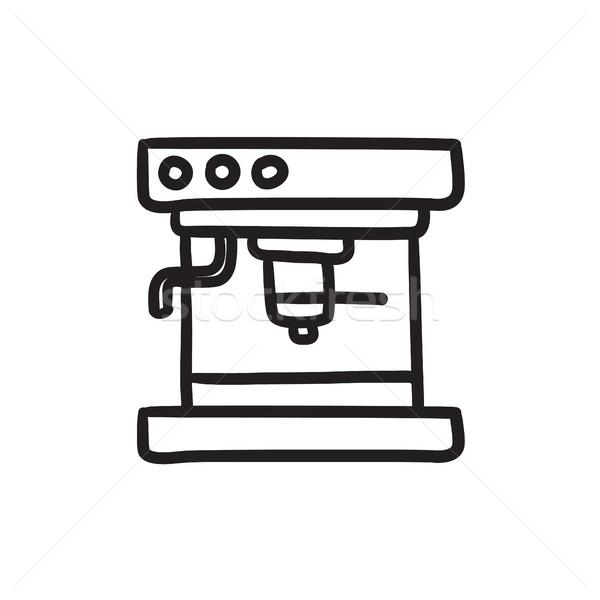 кофеварка эскиз икона вектора изолированный рисованной Сток-фото © RAStudio