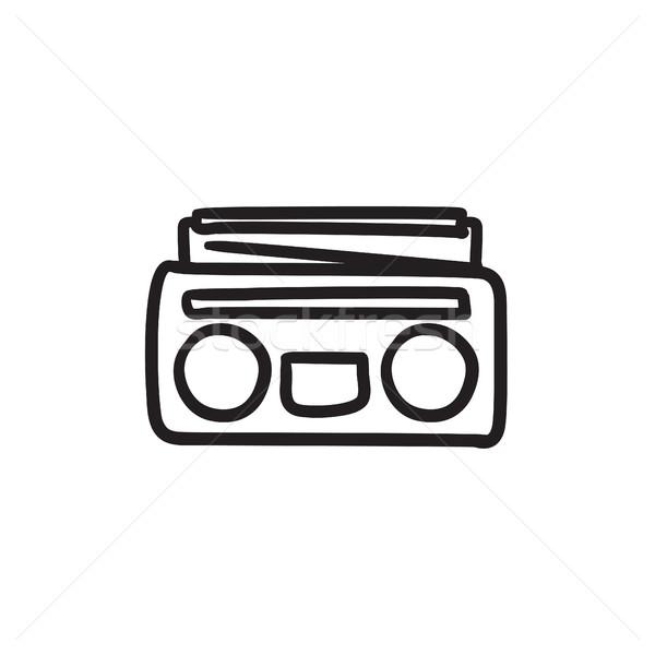 Radio cassette joueur croquis icône vecteur Photo stock © RAStudio