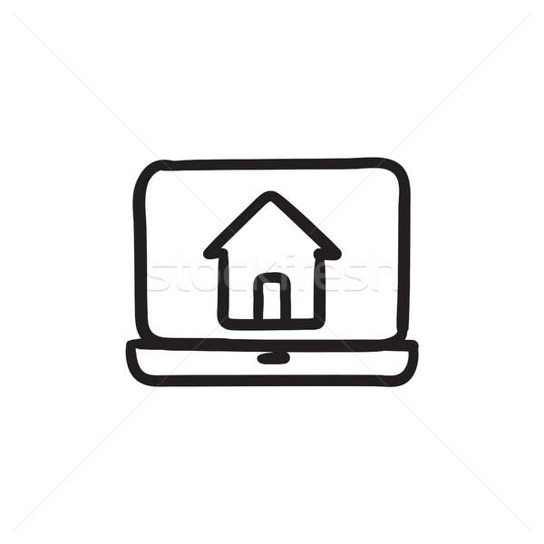 Stockfoto: Laptop · home · scherm · schets · icon · vector