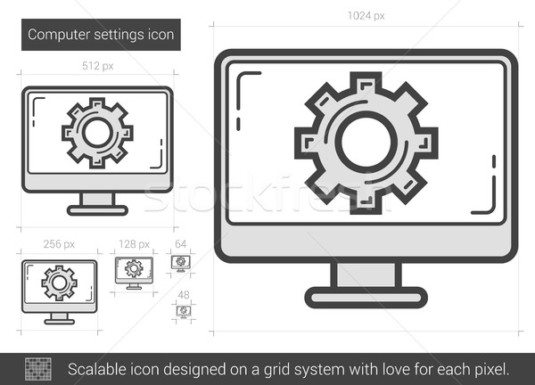 Computer settings line icon  vector illustration © Andrei Krauchuk
