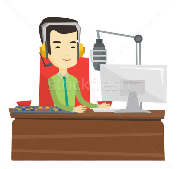 Asya çalışma radyo gülen kulaklık istasyon Stok fotoğraf © RAStudio