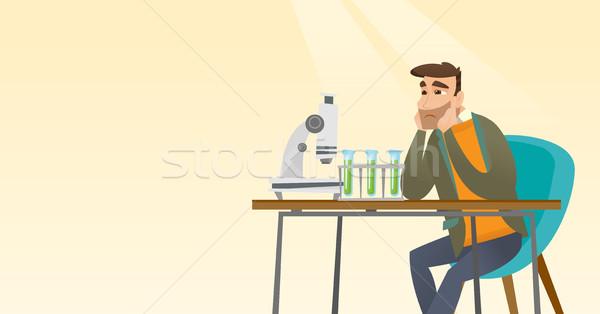 Foto stock: Estudante · trabalhando · laboratório · classe · desapontado · caucasiano