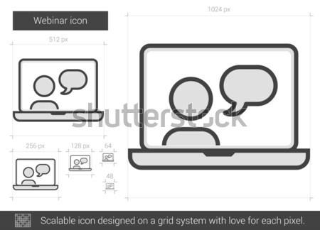 Semineri hat ikon vektör yalıtılmış beyaz Stok fotoğraf © RAStudio